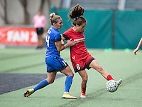 Seattle, WA - Saturday Aug. 27, 2016: Manon Melis, Meleana Shim during a regular season National Women's Soccer League (NWSL) match between the Seattle Reign FC and the Portland Thorns FC at Memorial Stadium.