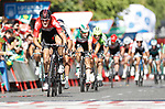 Jelle Wallays (BEL) Lotto-Soudal outfoxes the sprinters to win Stage 17 of the La Vuelta 2018, running 186.1km from Ejea de los Caballeros to Lleida, Spain. 13th September 2018.                   <br /> Picture: Unipublic/Photogomezsport | Cyclefile<br /> <br /> <br /> All photos usage must carry mandatory copyright credit (&copy; Cyclefile | Unipublic/Photogomezsport)
