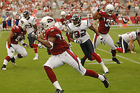 Aug 18, 2007; Glendale, AZ, USA; Arizona Cardinals wide receiver Steve Breaston (18) returns a kickoff in the third quarter against the Houston Texans at University of Phoenix Stadium. Mandatory Credit: Mark J. Rebilas-US PRESSWIRE Copyright © 2007 Mark J. Rebilas