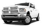 Stock pictures of low aggressive front three quarter view of a 2015 Ram 2500 Laramie 4 Door Truck
