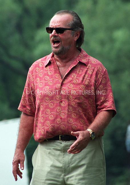 "Jack Nicholson singing on the set of ""Anger Management"" in Central Park, New York, July 1, 2002. Please byline: Alecsey Boldeskul/NY Photo Press.   ..*PAY-PER-USE*      ....NY Photo Press:  ..phone (646) 267-6913;   ..e-mail: info@nyphotopress.com"