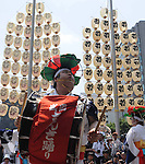 July 16th, 2011, Sendai, Japan - Sansa Odori's dancer from iwate prefecture beats a Japanese traditional drum at the Tohoku Rokkon Festival, July 16, 2011, in Sendai city, Miyagi prefecture, northeastern Japan, about 90km away from the tsunami-crippled Fukushima Daiichi Nuclear Power Plant. The six major festivals in the Tohoku region, comprising Sansa Odori in Iwate, Nebuta Matsuri in Aomori, Tanabata Matsuri in Sendai, Hanagasa Matsuri in Yamagata, Kanto Matsuri in Akita, and Waraji Matsuri in Fukushima, are performed together at Tohoku Rokkon Festival for the first time to overcome the many harmful rumors and atmosphere of excessive restraint, to recover the visiting population in order to revive the regional economy, and accomplish reconstruction after the March 11's earthquake and tsunami. (Photo by Tomoyuki Kaya/AFLO) [3694]