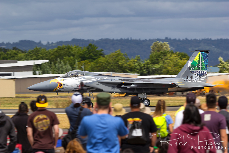 F-15 Eagle of the 173rd Fighter Wing based at Kingsley Field in Klamath Falls, in a commemerative paint scheme to celebrate the Oregon Air National Guard's 75th anniversary, accelerates for take off at an airshow in Hillsboro, Oregon