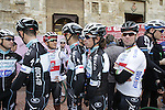 Michal Kwiatkowski (POL), Mark Renshaw (AUS), Mark Cavendish (GBR) and Rigoberto Uran Uran (COL) Omega Pharma-Quick Step arrive at sign on in San Gimignano before the start of the 2014 Strade Bianche race over the white dusty gravel roads of Tuscany, Italy. 8th March 2014.<br /> Picture: Eoin Clarke www.newsfile.ie