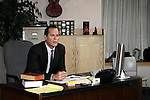 "In his Lawyer Office starring Robert Bogue ""Mario Cash"" - ""Rock Story"" (rock n' roll mystery ensues and unleases band rise to national fame) - screen play by Guiding Light's Robert Bogue and his wife.  Rock Story which was shot almost all in Orange County has just finished filming in late January. It will be the feature film in the 2014 Hoboken International Film Festival on May 30 (with the festival continuing through June 5) at the Paramount Theatre in Middletown, New York. (Photo by Sue Coflin/Max Photos)"