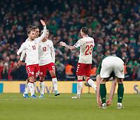 18th November 2019; Aviva Stadium, Dublin, Leinster, Ireland; European Championships 2020 Qualifier, Ireland versus Denmark; Denmark players celebrate at full time - Editorial Use