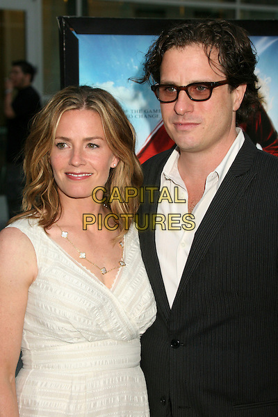 "ELISABETH SHUE & DAVIS GUGGENHEIM.""Gracie"" Los Angeles Premiere at ArcLight Theatres, Hollywood, California, USA..May 23rd, 2007.half length glasses black suit jacket elizabeth white cream sleeveless dress couple husband wife married .CAP/ADM/BP.©Byron Purvis/AdMedia/Capital Pictures"