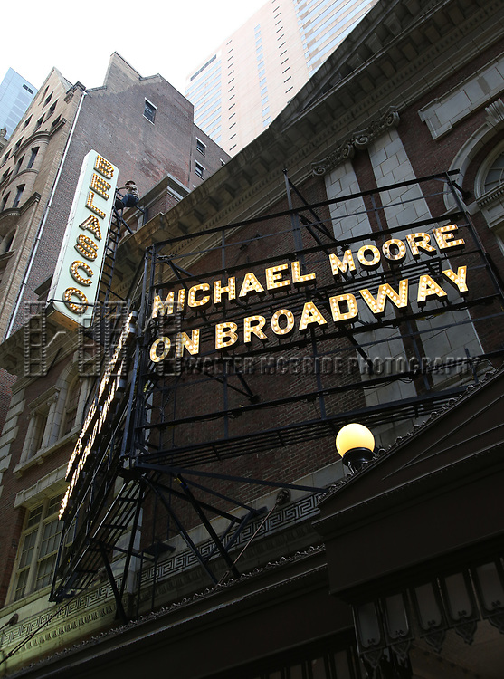 "Theatre Marquee Unveiled For ""Michael Moore on Broadway: The Terms of My Surrender"" at The Belasco Theatre on June 27, 2017 in New York City."
