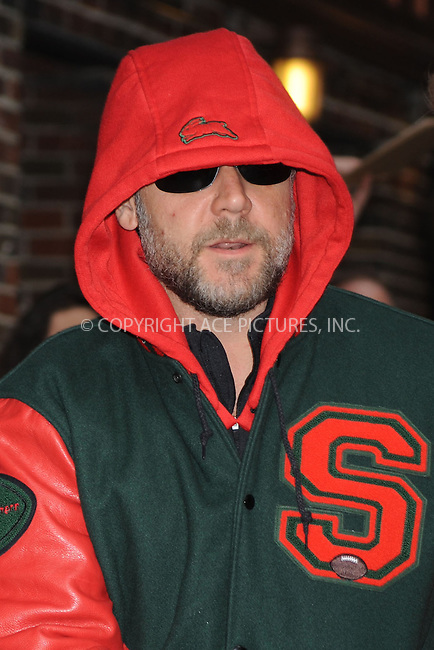 WWW.ACEPIXS.COM . . . . .  ....April 13 2009, New York City....Actor Russell Crowe made an appearance at the 'Late Show with David Letterman' on April 13 2009 in New York City....Please byline: KRISTIN CALLAHAN - ACEPIXS.COM.... *** ***..Ace Pictures, Inc:  ..tel: (212) 243 8787..e-mail: info@acepixs.com..web: http://www.acepixs.com