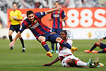 Rayo Vallecano´s Abdoulaye (R) and Barcelona´s Leo Messi during La Liga match between Rayo Vallecano and Barcelona at Vallecas stadium in Madrid, Spain. October 04, 2014. (ALTERPHOTOS/Victor Blanco)