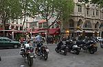 Latin quarter,restaurants and bars spring evening, Paris, France...
