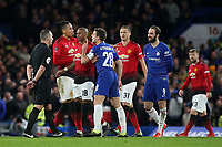 Chelsea's Cesar Azpilicueta shakes his finger at referee, Kevin Friend during Chelsea vs Manchester United, Emirates FA Cup Football at Stamford Bridge on 18th February 2019