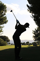 Sebastian Heisele (GER) on the 16th tee during Round 3 of the Challenge Tour Grand Final 2019 at Club de Golf Alcanada, Port d'Alcúdia, Mallorca, Spain on Saturday 9th November 2019.<br /> Picture:  Thos Caffrey / Golffile<br /> <br /> All photo usage must carry mandatory copyright credit (© Golffile | Thos Caffrey)