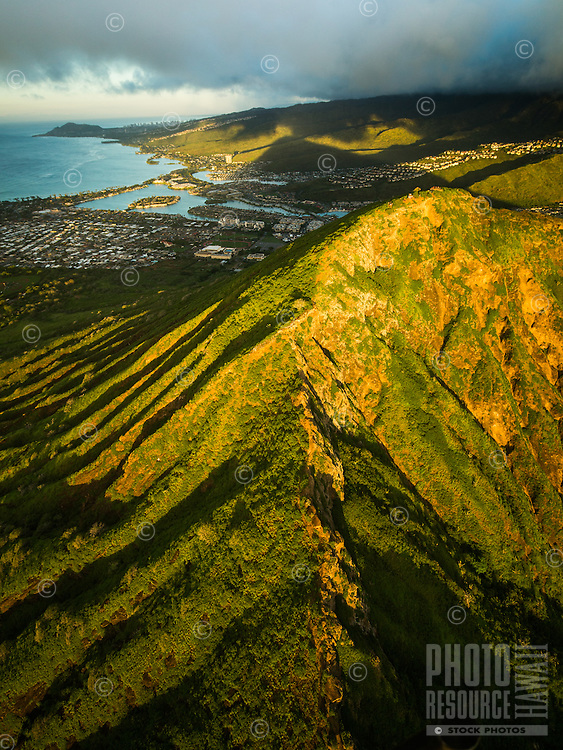 A morning aerial view of the peak of Koko Crater, Hawai'i Kai, East O'ahu.