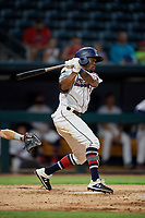 Jacksonville Jumbo Shrimp Anfernee Seymour (9) at bat during a Southern League game against the Mobile BayBears on May 28, 2019 at Baseball Grounds of Jacksonville in Jacksonville, Florida.  Mobile defeated Jacksonville 2-1.  (Mike Janes/Four Seam Images)