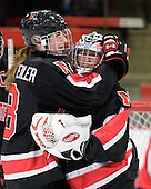 Alyssa Wohlfeiler (NU - 8), Leah Sulyma (NU - 1) - The Harvard University Crimson defeated the Northeastern University Huskies 1-0 to win the 2010 Beanpot on Tuesday, February 9, 2010, at the Bright Hockey Center in Cambridge, Massachusetts.