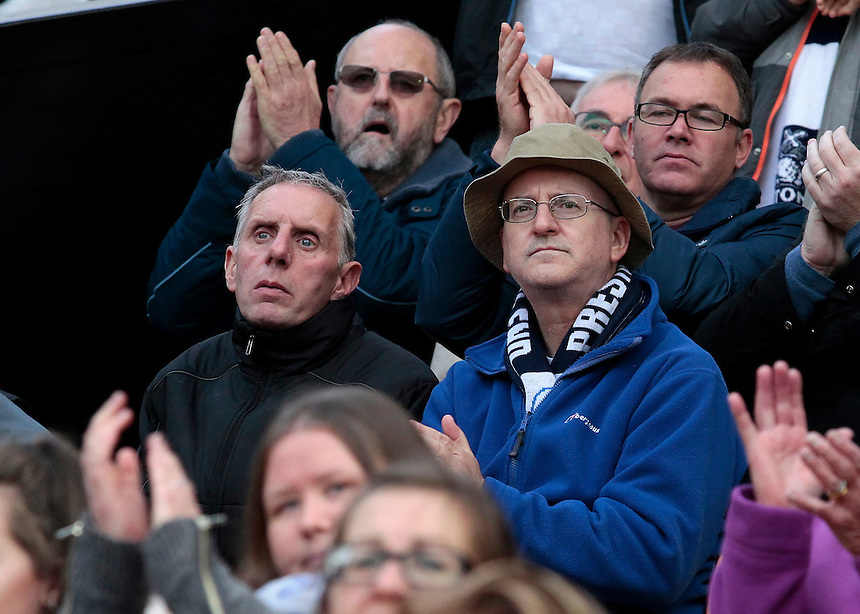 Preston North End fans show their support during the second half<br /> <br /> Photographer David Shipman/CameraSport<br /> <br /> The EFL Sky Bet Championship - Norwich City v Preston North End - Saturday 22nd October 2016 - Carrow Road - Norwich<br /> <br /> World Copyright &copy; 2016 CameraSport. All rights reserved. 43 Linden Ave. Countesthorpe. Leicester. England. LE8 5PG - Tel: +44 (0) 116 277 4147 - admin@camerasport.com - www.camerasport.com