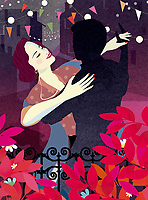 Woman dancing with man's silhouette outdoors at night ExclusiveImage