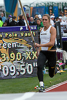 Missouri senior Heather Green approaches the pit during the women's pole vault at the 2014 NCAA Divsion I Outdoor Track and Field Championships at Hayward Field in Eugene, Or. Friday, June 13. Green was one of four women unable to make a clearance in the field of 24.