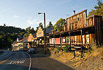 Downtown gold-rush era shop façades on SR 49 in the historic town of Amador City, smallest city in Calif.