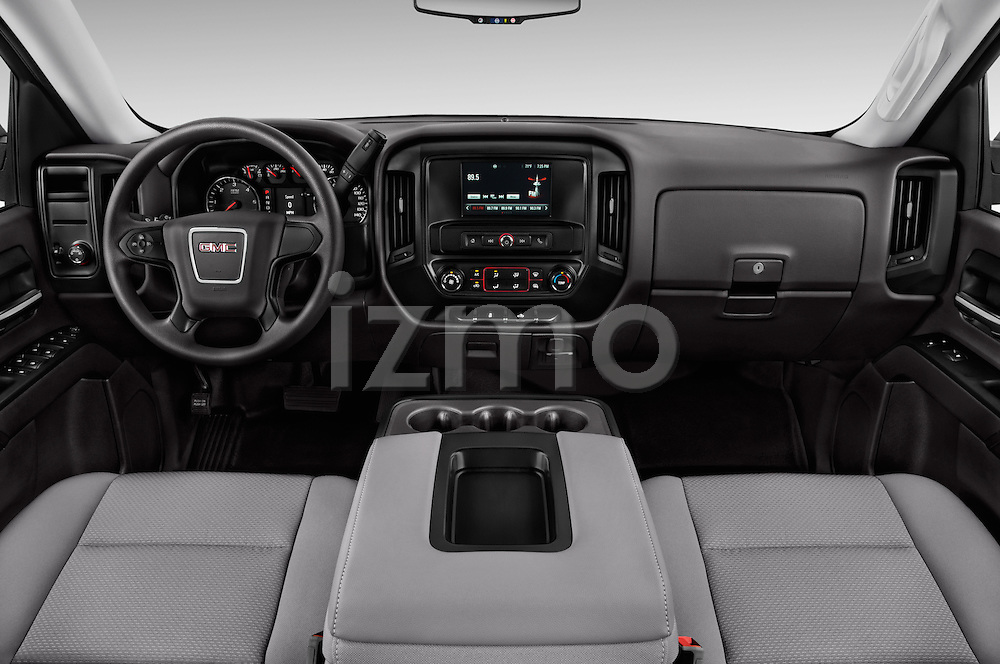 Stock photo of straight dashboard view of 2016 GMC Sierra 1500 2WD Crew Cab Short Box 4 Door Pick-up Dashboard