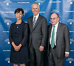 Lori Holland, incoming vice chair, Jim Ryan, incoming chair, and outgoing chair, William Bennett - DePaul University board of trustees. (DePaul University/Jamie Moncrief)