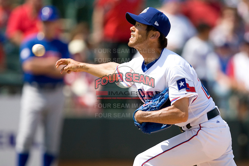 Round Rock Express pitcher Yosh Takeyama (22) delivers against the Iowa Cubs on April 10th, 2011 at Dell Diamond in Round Rock, Texas.  (Photo by Andrew Woolley / Four Seam Images)