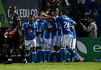 BOGOTA - COLOMBIA -25 - 11 - 2017: Los jugadores de Millonarios, celebran el gol anotado a La Equidad, durante partido de ida entre La Equidad y Millonarios, de los cuartos de final la Liga Aguila II - 2017, jugado en el estadio Metropolitano de Techo de la ciudad de Bogota. / The players of Millonarios, celebrates a scored goal to La Equidad, during a match for the first leg between La Equidad and Millonarios, to the quarter of finals for the Liga Aguila II - 2017 at the Metropolitano de Techo Stadium in Bogota city, Photo: VizzorImage  / Luis Ramirez / Staff.