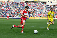 Chicago Fire defender Brandon Prideaux (6) dribbles toward the Columbus goal.  The Columbus Crew tied the Chicago Fire 2-2 at Toyota Park in Bridgeview, IL on September 20, 2009.