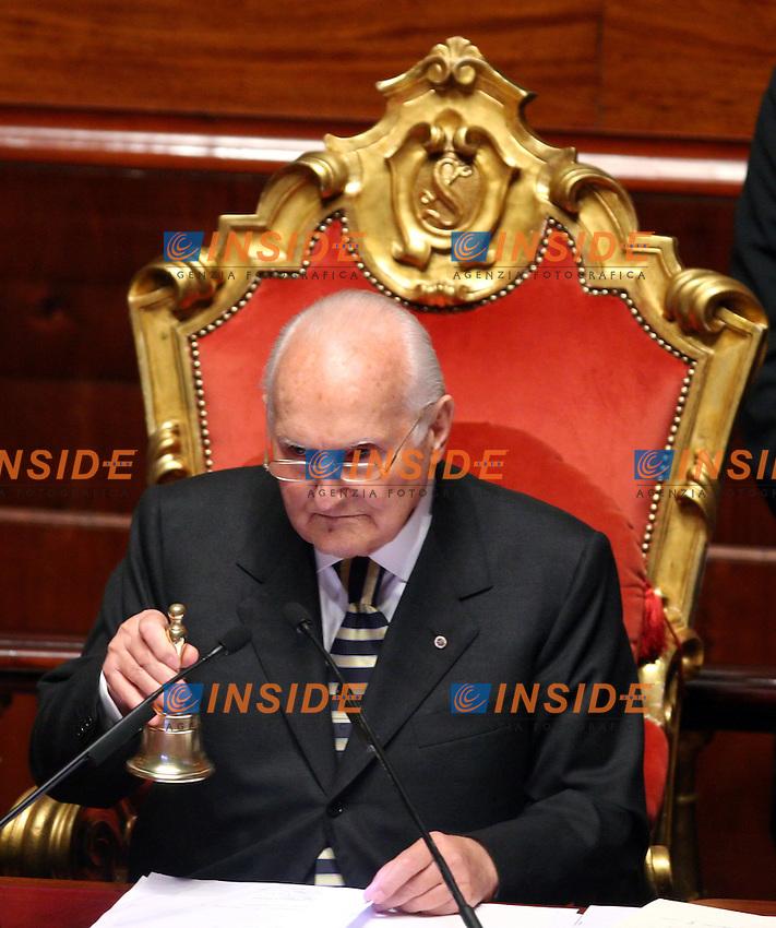 Roma, 28/04/2006 Senato:Votazione per il Presidente<br /> Nella foto  Oscar Luigi Scanfaro <br /> Photo Serena Cremaschi Insidefoto