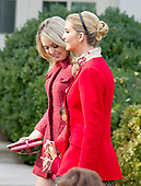 """Tiffany Trump and Ivanka Trump after the ceremony where United States President Donald J. Trump and First Lady Melania Trump hosted the National Thanksgiving Turkey Pardoning Ceremony in the Rose Garden of the White House in Washington, DC on Monday, November 20, 2017.  According to the White House Historical Association, the ceremony originated in 1863 when US President Abraham Lincoln's granted clemency to a turkey. The tradition jelled in 1989 when US President George HW Bush stated """"But let me assure you, and this fine tom turkey, that he will not end up on anyone's dinner table, not this guy -- he's granted a Presidential pardon as of right now -- and allow him to live out his days on a children's farm not far from here.""""<br /> Credit: Ron Sachs / CNP"""