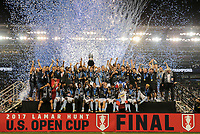 Kansas City, KS - Wednesday September 20, 2017: Sporting Kansas City 2017 U.S. Open Cup Champions during the 2017 U.S. Open Cup Final Championship game between Sporting Kansas City and the New York Red Bulls at Children's Mercy Park.