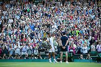 England, London, 28.06.2014. Tennis, Wimbledon, AELTC, Rafael Nadal (ESP) says good-bye to the crowd at centercourt<br /> Photo: Tennisimages/Henk Koster