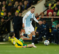 Blackburn Rovers' Joe Rothwell (right) is tackled by Norwich City's Kenny McLean (left) <br /> <br /> Photographer David Horton/CameraSport<br /> <br /> The EFL Sky Bet Championship - Norwich City v Blackburn Rovers - Saturday 27th April 2019 - Carrow Road - Norwich<br /> <br /> World Copyright © 2019 CameraSport. All rights reserved. 43 Linden Ave. Countesthorpe. Leicester. England. LE8 5PG - Tel: +44 (0) 116 277 4147 - admin@camerasport.com - www.camerasport.com