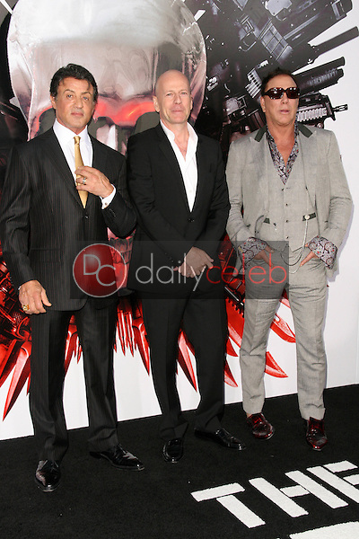 Sylvester Stallone and Bruce Willis and Mickey Rourke<br />