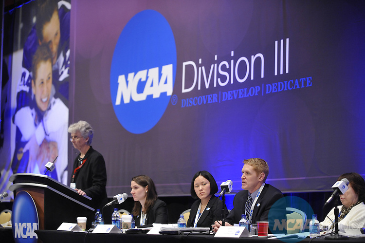 14 JAN 2010: The Division III Business Session at the 2010 NCAA Convention held at the Marriott Marquis and the Hyatt Regency in Atlanta, GA. Stephen Nowland/NCAA Photos.Pictured: Lynn Oberbillig.