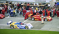 The #30 Ferrari 333 SP of Gianpiero Moretti, Bob Wollek, Didier Theys, and Max papis and the #4 Oldsmobile Riley & Scott Mk III of Wayne Taylor, Scott Sharp and Jim Pace make up the fron row at the start of the 24 Hours of Daytona, IMSA race, Daytona International Speedway, Daytona Beach , FL, February 4, 1996.  (Photo by Brian Cleary/www.bcpix.com)