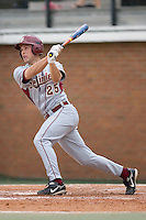 Mike McGee (25) of the Florida State Seminoles follows through on his swing versus the Wake Forest Demon Deacons at Gene Hooks Stadium on the campus of Wake Forest University in Winston-Salem, NC, Friday, March 28, 2008.