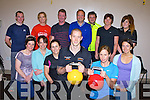 Personal trainer Bobby Enright and his bride to be Stephanie Watson who were honoured at their last class before their wedding by his class in the Killarney Sports Centre on Monday evening front row l-r: Elaine O'Sullivan, Brid Murphy, Patricia Leane, Bobby Enright, Stephanie Watson, Carina O'Mahony. Back row: Mike Furlong, Joan Cronin, John O'Brien, Padraig Kelleher, Dermot O'Connor, Helen Twomey, and Megan Enright