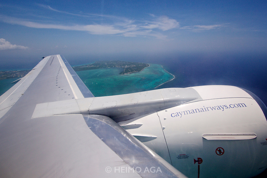 Grand Cayman. Aboard an Cayman Airways Boeing 737.