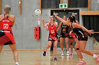 Tactix' Brooke Leaver in action during the Preseason Tournament - Tactix v Magic at Ngā  Purapura, Otaki, New Zealand on Saturday 9 February  2019. <br /> Photo by Masanori Udagawa. <br /> www.photowellington.photoshelter.com