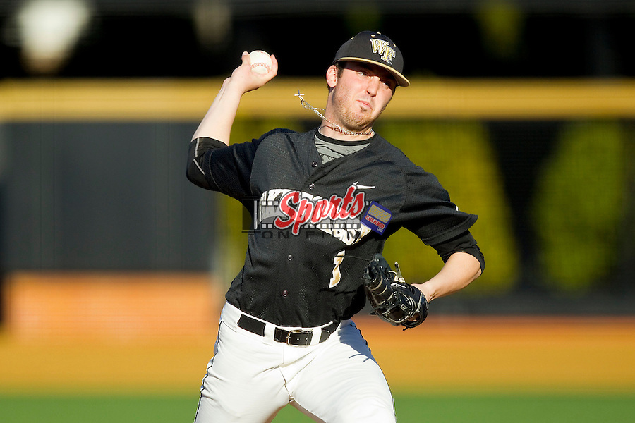 Wake Forest Demon Deacons starting pitcher Matt Pirro (1) in action against the West Virginia Mountaineers at Wake Forest Baseball Park on February 24, 2013 in Winston-Salem, North Carolina.  The Demon Deacons defeated the Mountaineers 11-3.  (Brian Westerholt/Sports On Film)