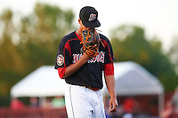 Batavia Muckdogs starting pitcher Gabriel Castellanos  (37) walks off the field with his face in his glove after the seventh inning during a game against the Mahoning Valley Scrappers on June 24, 2015 at Dwyer Stadium in Batavia, New York.  Batavia defeated Mahoning Valley 1-0 as Castellanos went seven innings allowing no hits with twelve strikeouts combining with relief pitchers Brett Lilek and Steven Farnworth on the organizations first perfect game in team history.  (Mike Janes/Four Seam Images)