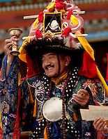 Head priest conducting a Losar ceremony, in Sikkim India