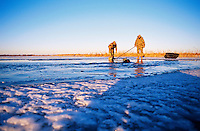 Duck hunters on ice in winter.