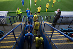 Montrose (in blue) and Edinburgh City players emerge from the changing rooms  before kick-off at Links Park. It was Edinburgh City's first Scottish League visit to Montrose since the club were promoted from the Lowland League the previous season. City won the match 1-0 to record their first league win of the season, captain Dougie Gair scoring the winner from the penalty spot in the 68th minute in a match watched by 388 spectators.