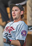 20 August 2015: Tri-City ValleyCats infielder Keach Ballard awaits the start of play against the Vermont Lake Monsters at Centennial Field in Burlington, Vermont. The Stedler Division-leading ValleyCats defeated the Lake Monsters 5-2 in NY Penn League action. Mandatory Credit: Ed Wolfstein Photo *** RAW Image File Available ****