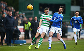 3rd February 2019, McDiarmid Park, Perth, Scotland; Ladbrokes Premiership football, St Johnston versus Celtic;  Sean Goss of St Johnstone challenges Ryan Christie of Celtic
