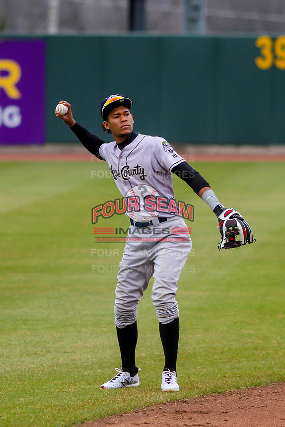 Kane County Cougars infielder Yan Sanchez (2) warms up between innings during a Midwest League game against the Cedar Rapids Kernels on April 21, 2018 at Perfect Game Field at Veterans Memorial Stadium in Cedar Rapids, Iowa. Kane County defeated Cedar Rapids 9-2. (Brad Krause/Four Seam Images)