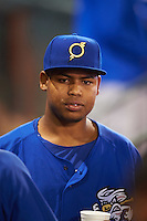 Omaha Storm Chasers pitcher Miguel Almonte (50) in the dugout during a game against the Memphis Redbirds on May 5, 2016 at AutoZone Park in Memphis, Tennessee.  Omaha defeated Memphis 5-3.  (Mike Janes/Four Seam Images)